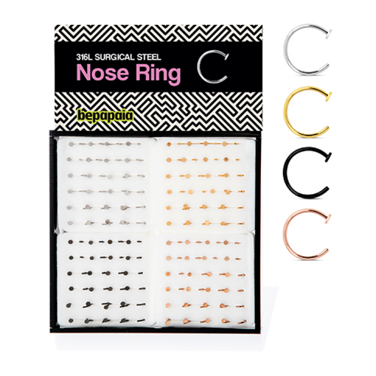 Surgical steel nose ring with disk end 4 colors