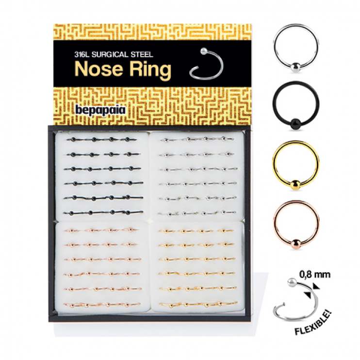 Surgical steel flexible nose ring with ball 4 color. 0.8x7,8,9mm