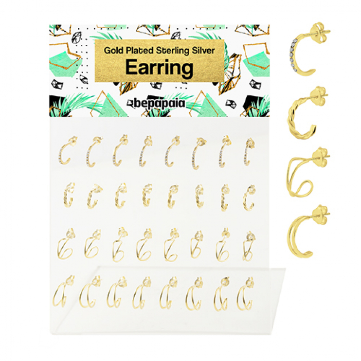 Gold plated silver half hoop double wire design