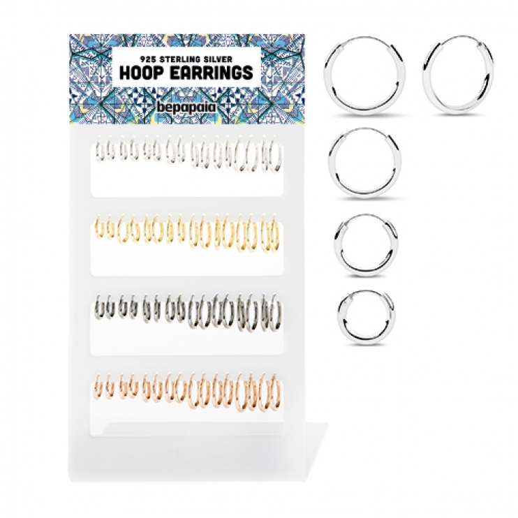 Sterling silver hoop earring 4 colors. 2x12mm - 18mm