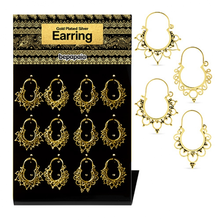 Gold plated silver earring with hoop tribal design