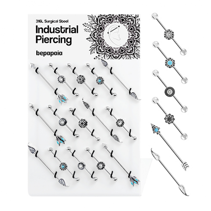 Surgical steel ethnic industrial piercing