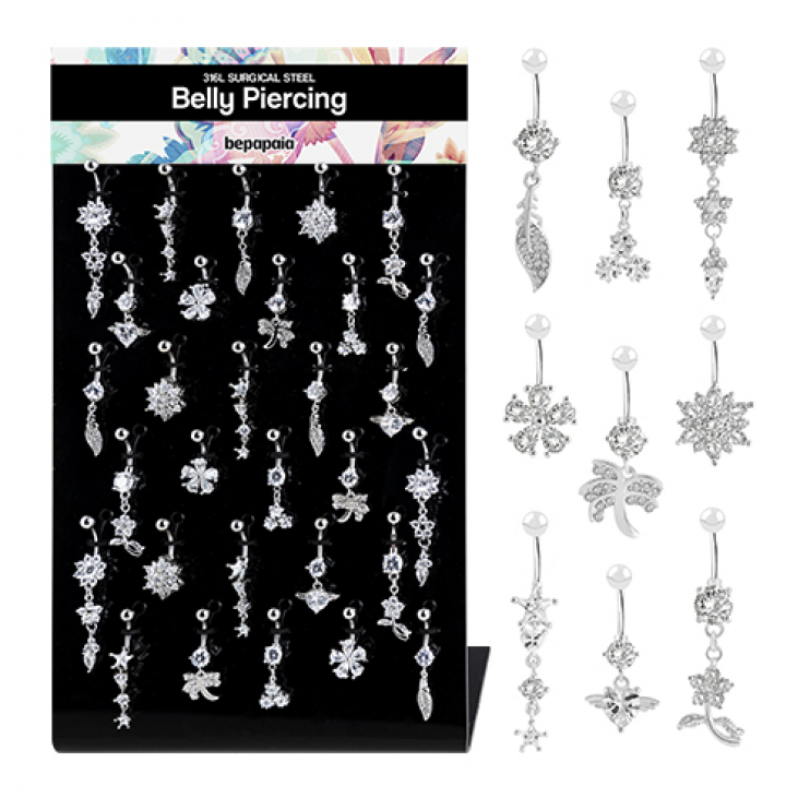 Surgical steel belly ring fancy style with various cubic zirconias