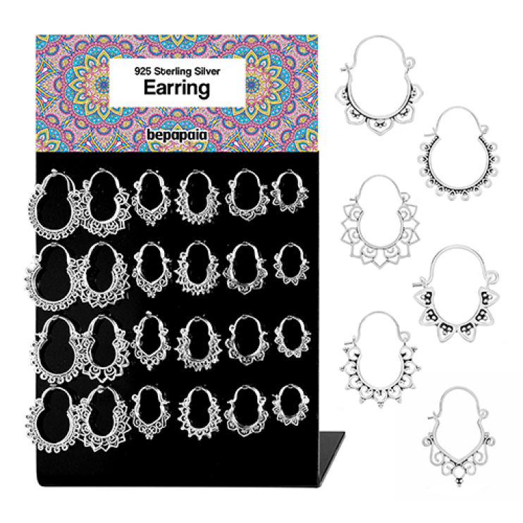 Silver small hoop earring tribal with filigree