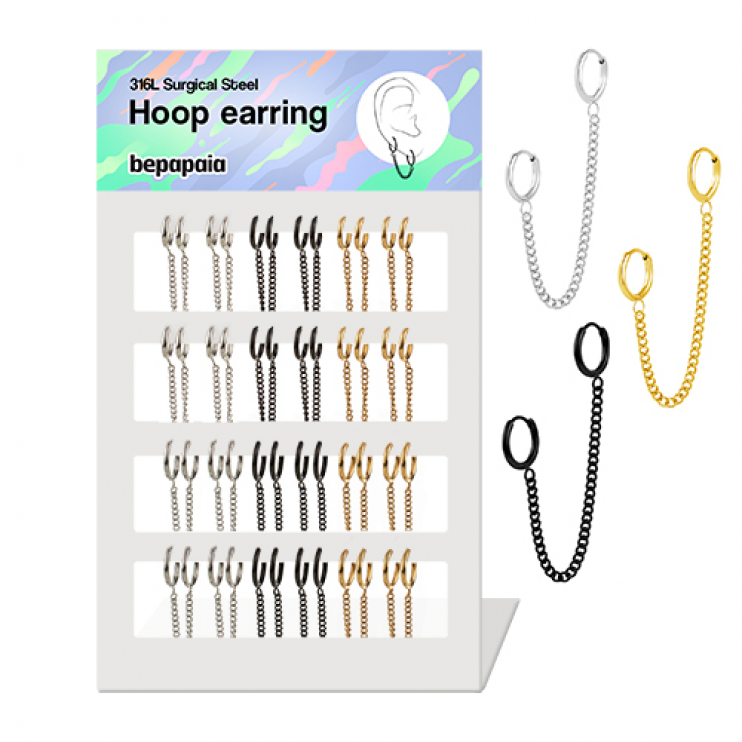 Surgical steel double hoop earrings with chain