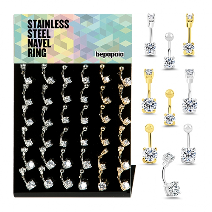 Steel belly ring 2 prong set cubic zirconia