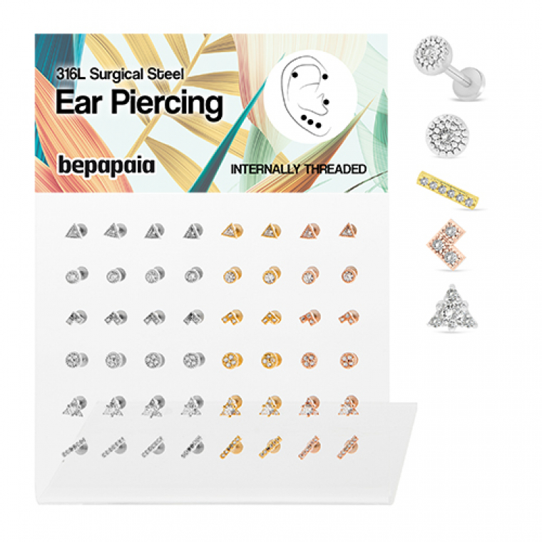 Surgical steel tragus geometric shapes with gems