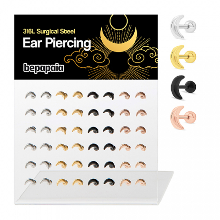 Surgical steel tragus moon 4 colors