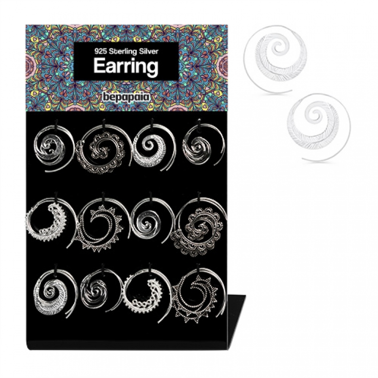 Sterling silver spiral earring