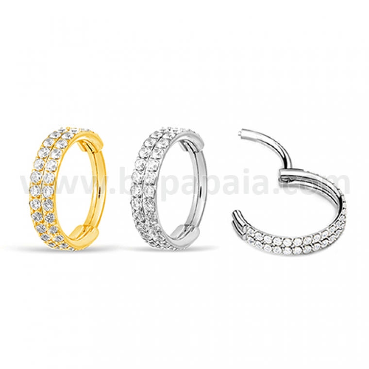 316L surgical steel hinged segment ring with double line of gems