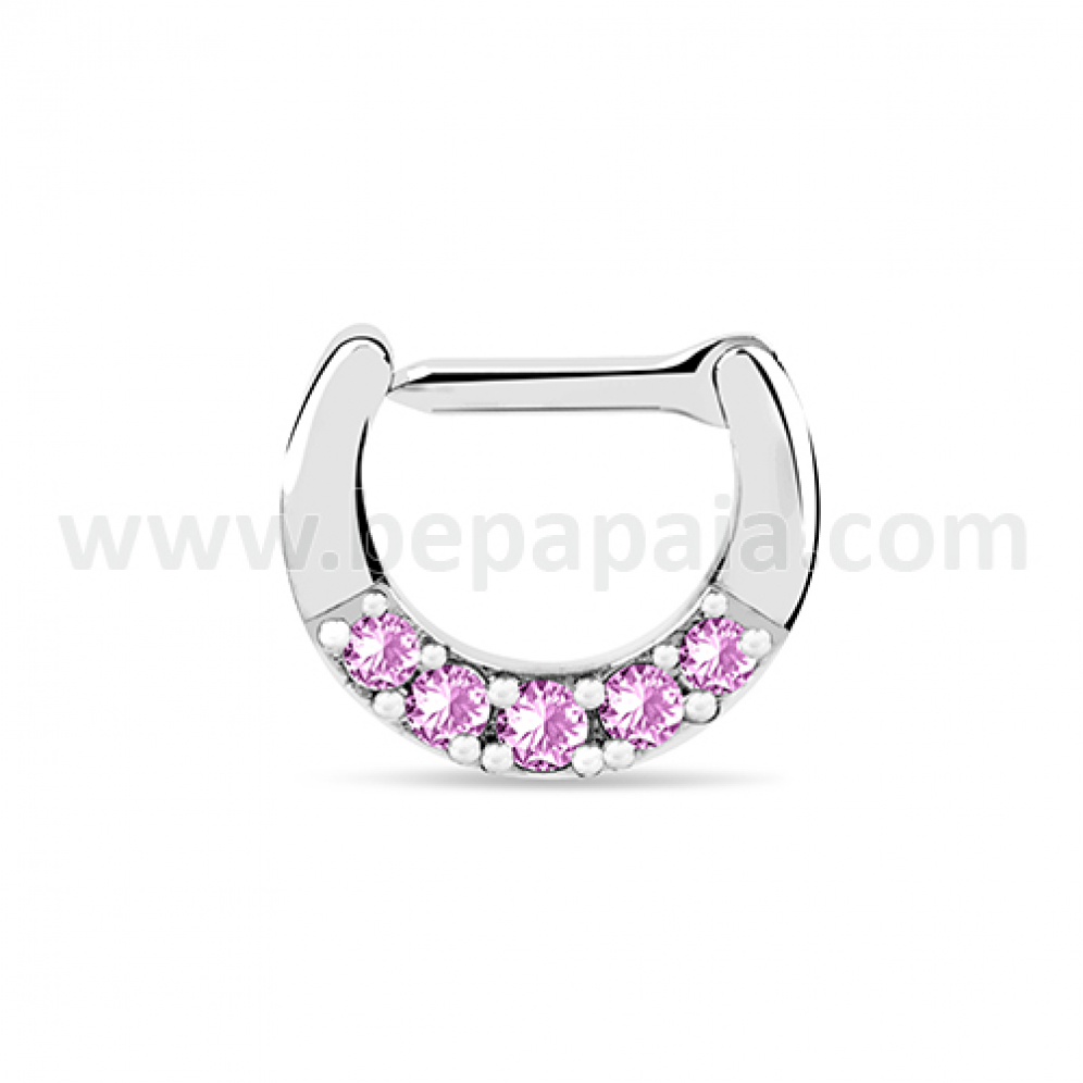 Jewelled Septum Ring With Clip Closure Bepapaia