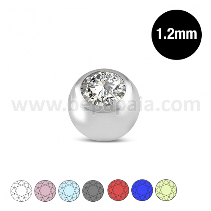 Stainless steel ball with gem assorted colors 1.2mm