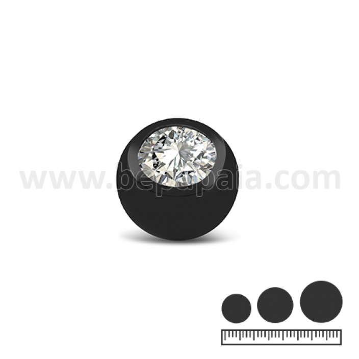 Black stainless steel ball with white gem 1.2 &1.6mm