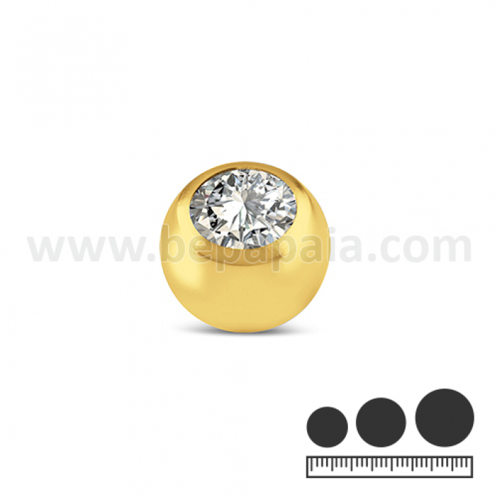 Gold stainless steel ball with white gem