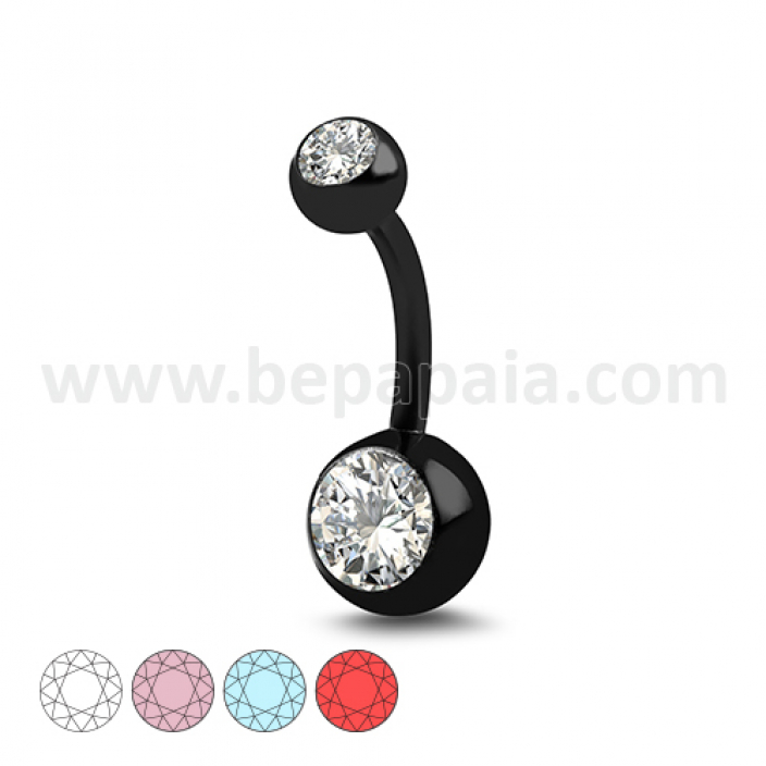 Black steel belly banana with 2 gems assorted colors