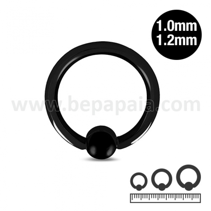 Black steel ball closure ring 1.0 & 1.2mm