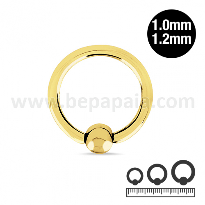 Gold steel ball closure ring 1.0 & 1.2mm