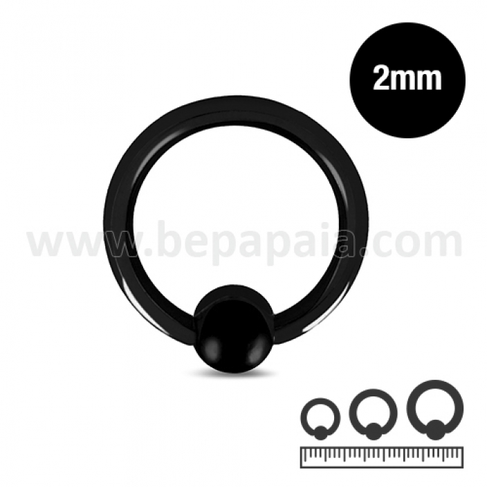 Black steel ball closure ring  2mm