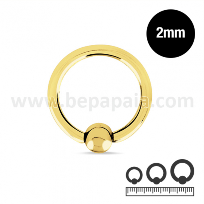Gold steel ball closure ring  2mm