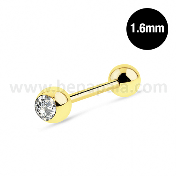 Gold steel tongue barbell 1 gem  1.6mm