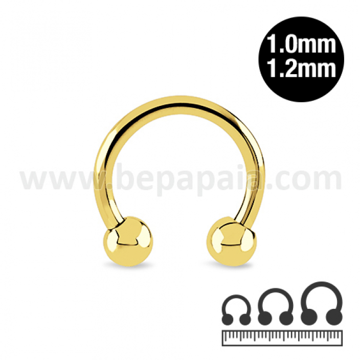 Gold steel circular barbell 1.0 & 1.2mm