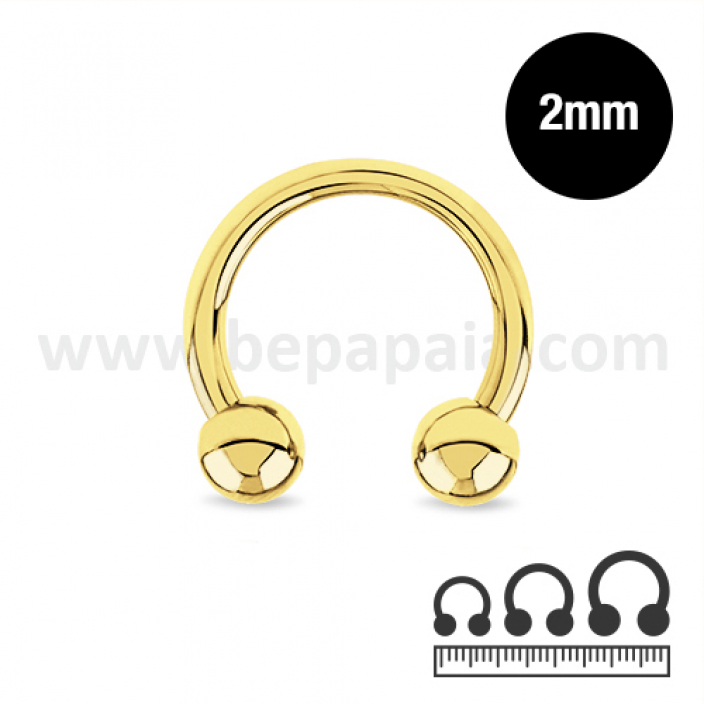 Gold steel circular barbell  2mm