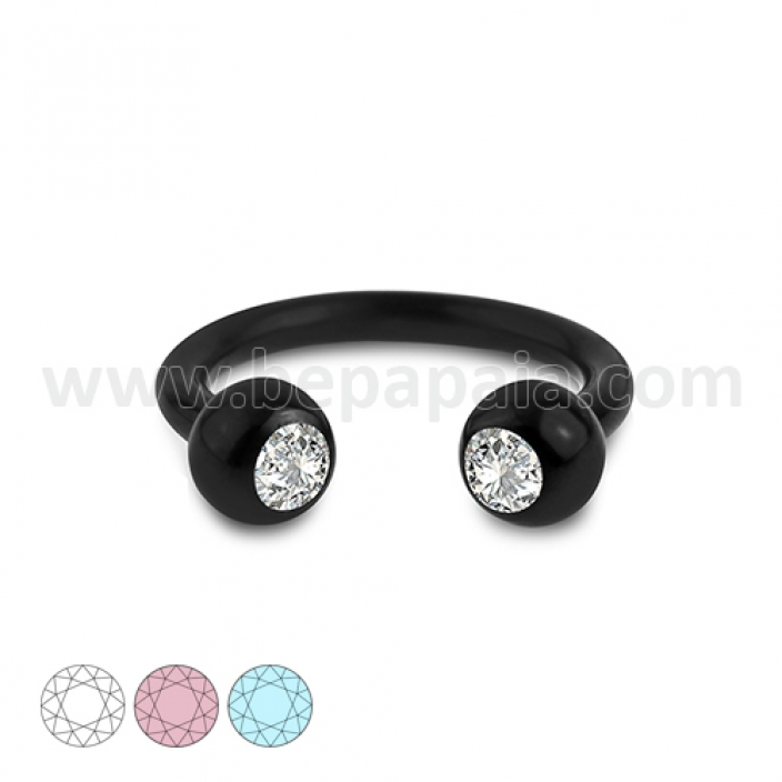 Black steel circular barbell with gems assorted colors 1.2mm