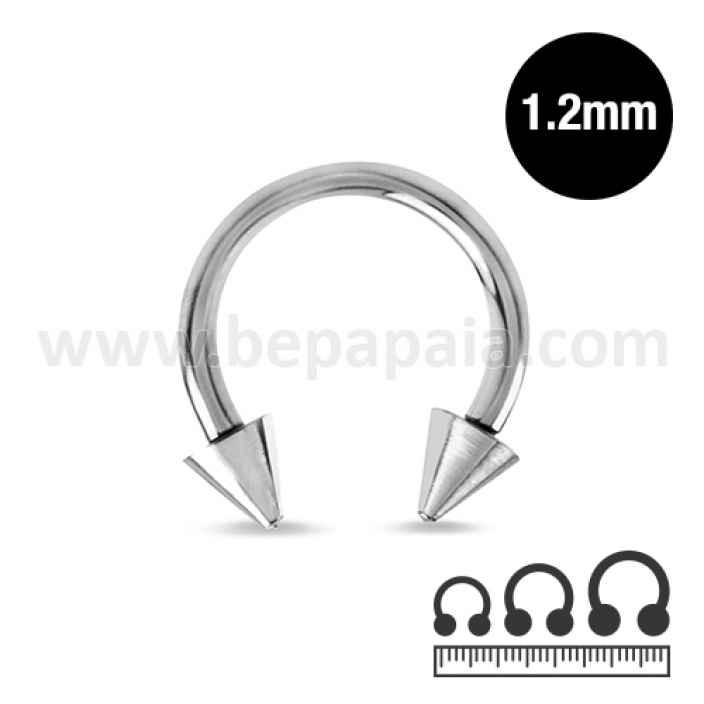 Stainless steel circular barbell with cones 1.2mm