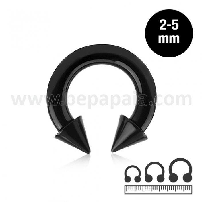 Black circular barbell with cones  2,3,4 & 5mm