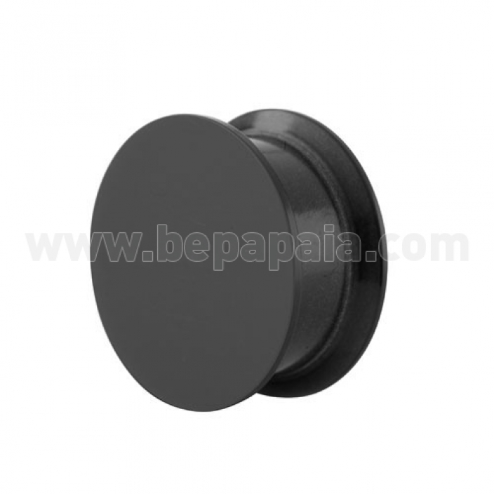 Black acrylic ear plug internally threaded