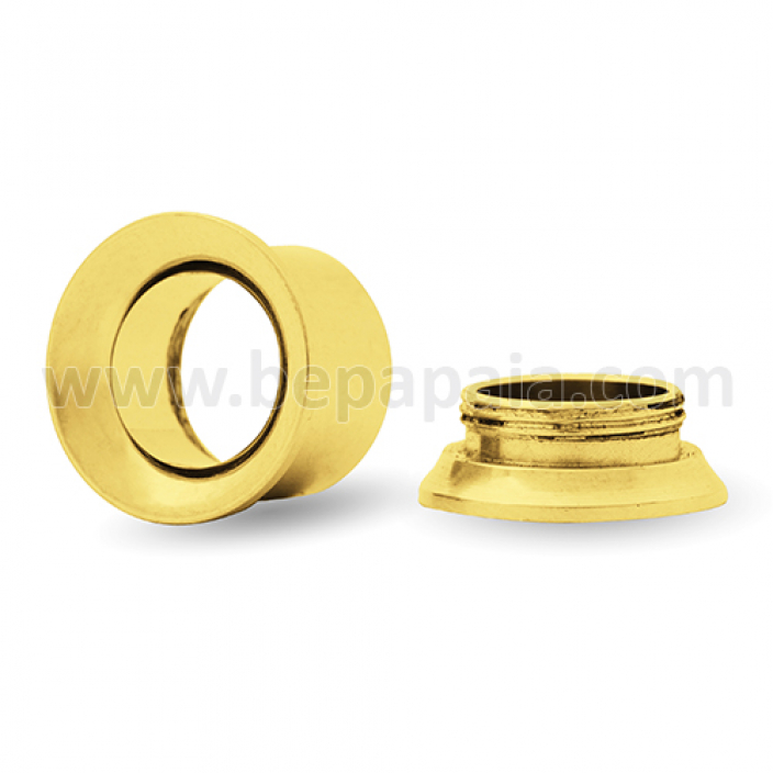 Gold steel flesh tube internally threaded