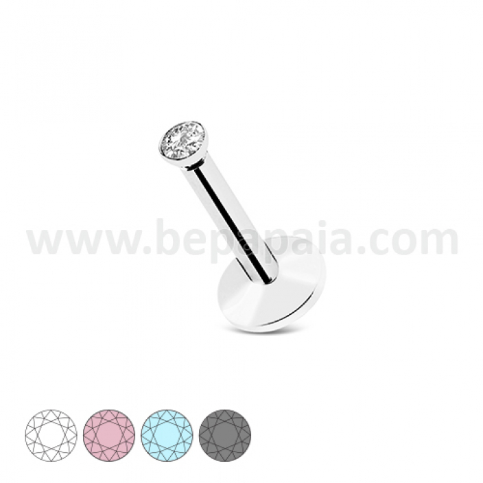 Stainless steel labret internal thread with flat gem assorted colors 1.2mm