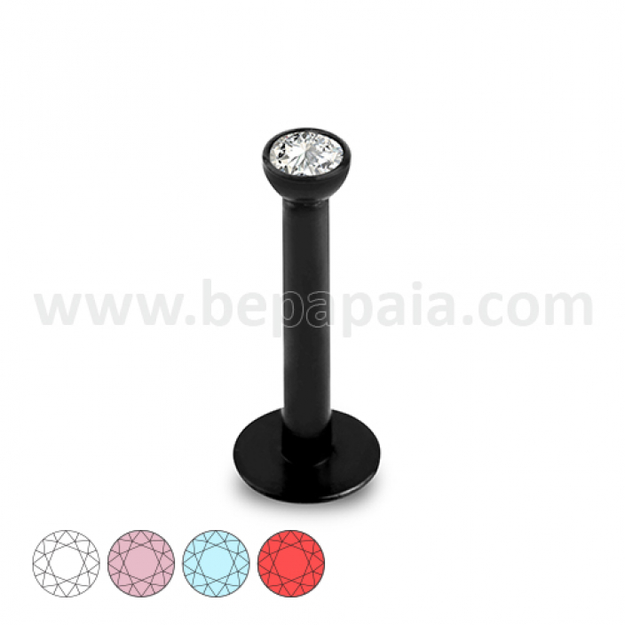 Black steel labret internal thread with flat gem assorted colors 1.2mm