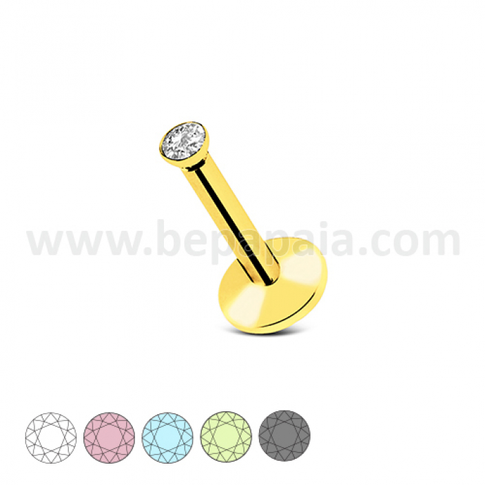 Gold steel labret internal thread with flat gem assorted colors