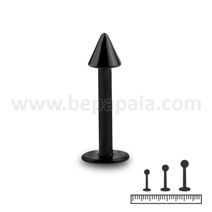 Black steel labret with cone 1.2mm