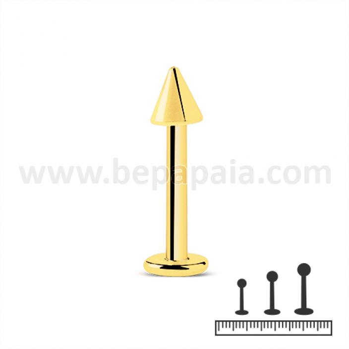 Gold steel labret with cone 1.2mm