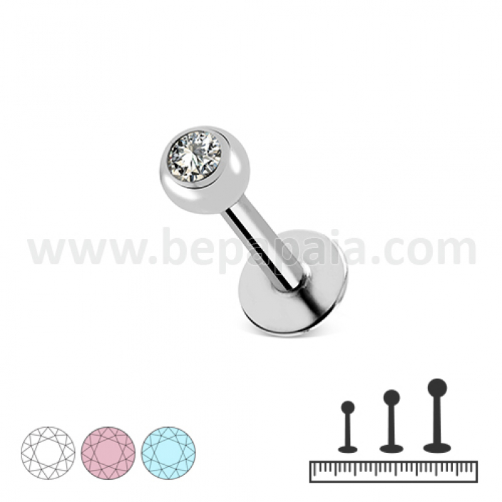 Stainless steel labret with gem assorted colors 1.2mm