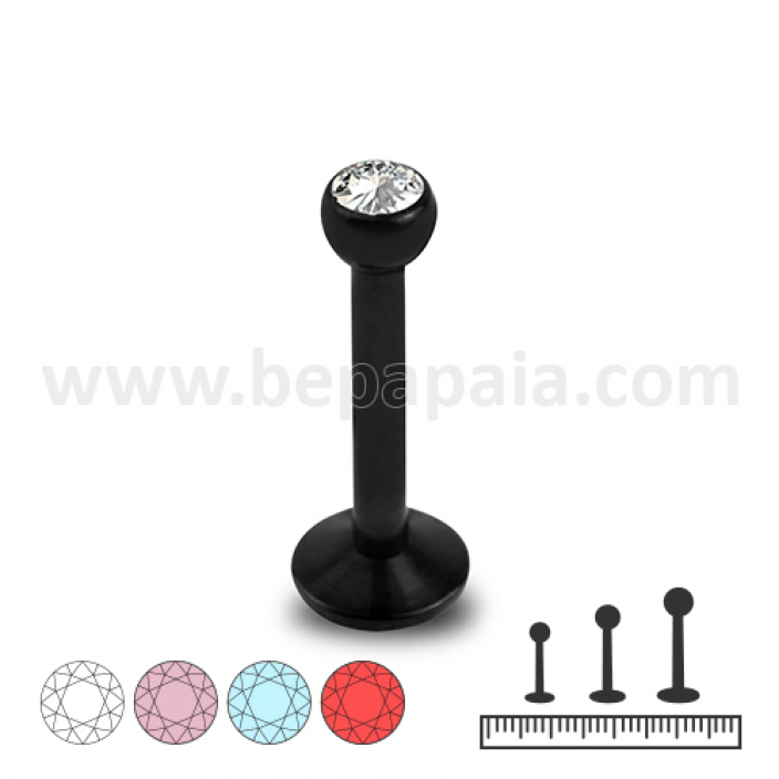 Black steel labret with gem assorted colors 1.2mm