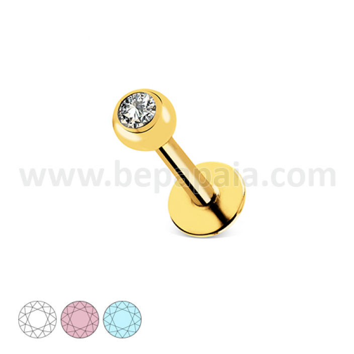 Gold steel labret with gem assorted colors 1.2mm