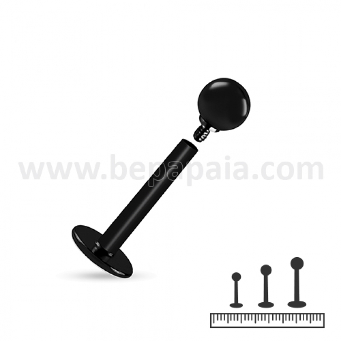 Black surgical steel labret internally threaded