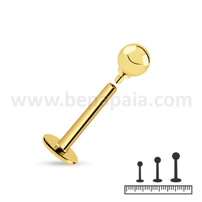 Gold surgical steel internally threaded labret