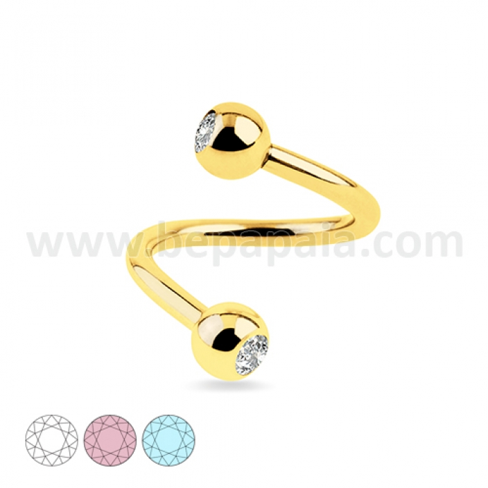 Gold steel spiral with gems assorted colors 1.2mm