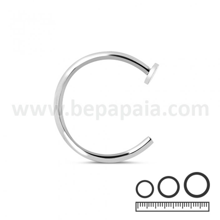 Stainless steel nose ring with flat disk 0.8 and 1.0mm