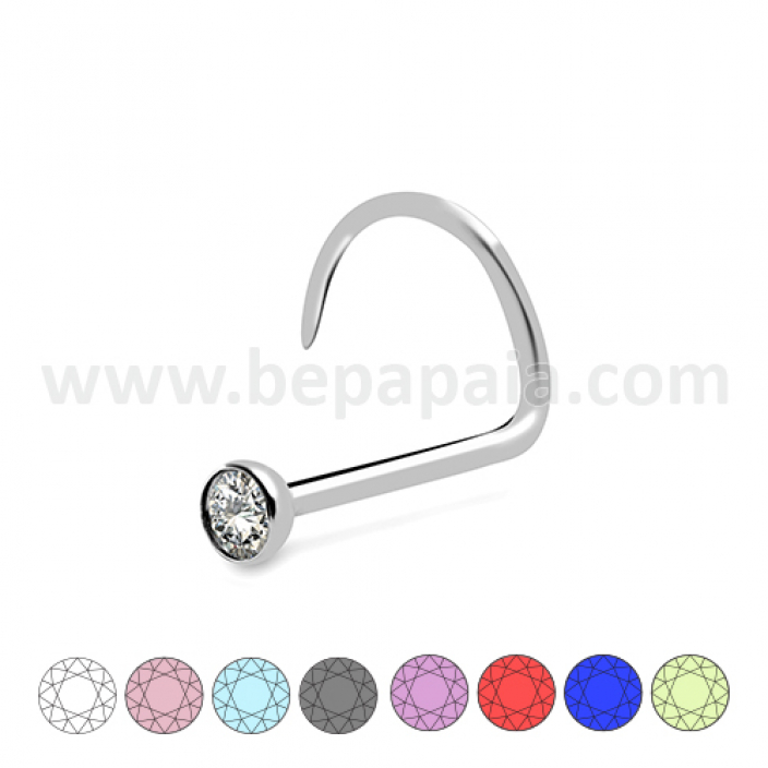 Stainless steel nostril with gem assorted colors 1.0mm