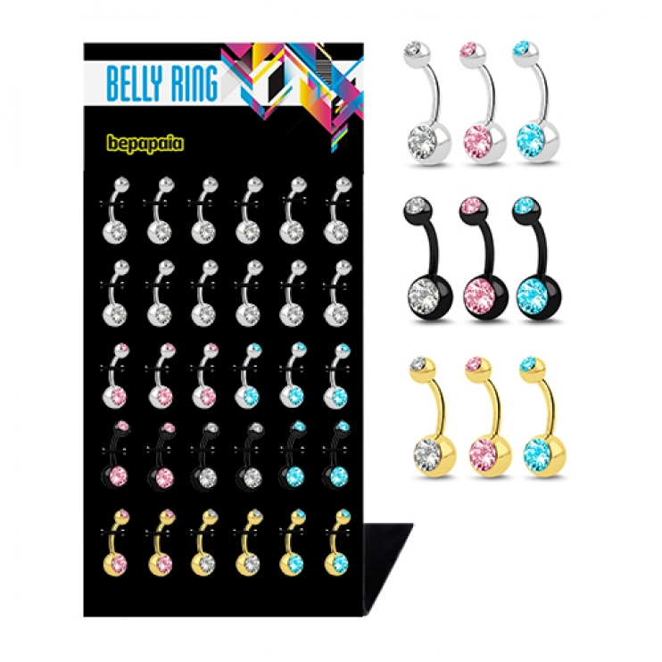 Belly rings with double gems