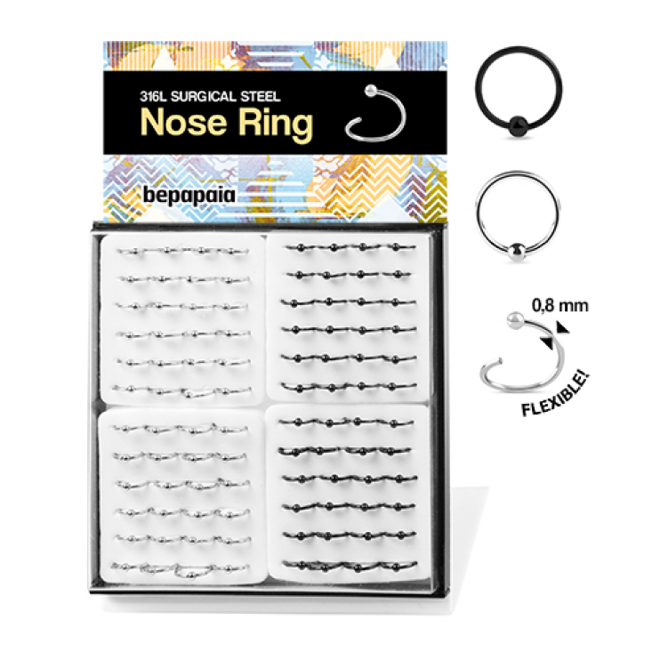Flexible steel nose rings with ball 0.8mm
