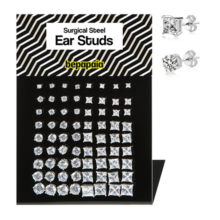 Stainless steel stud earring with cubic zirconia casting