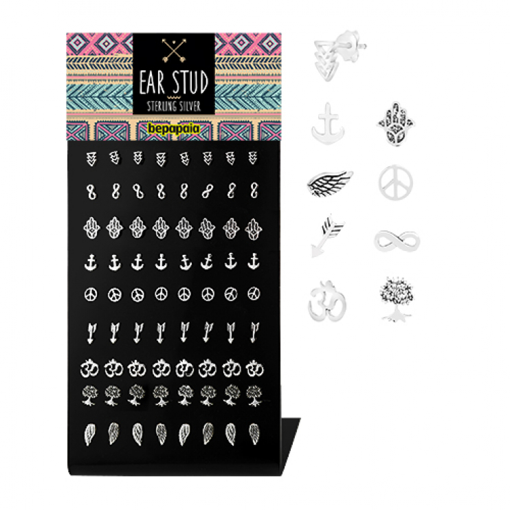 Sterling silver ear studs with different designs