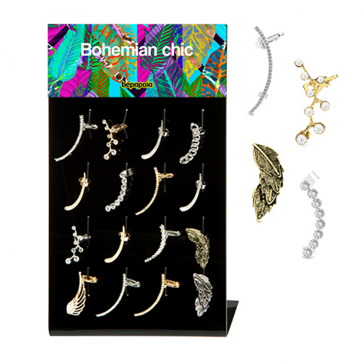 Stainless steel & Brass ear cuff with sparkling gems
