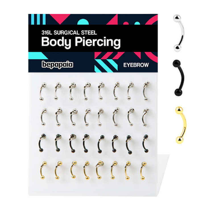 Stainless steel, gold steel and black steel microbanana piercing